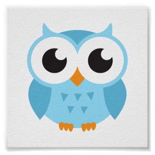 Cute Blue Cartoon Baby Owl Classic Round Sticker Zazzle Com
