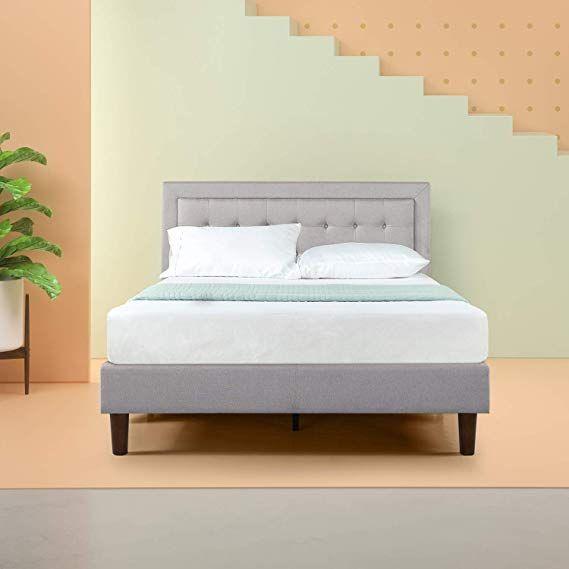 Amazon Com Zinus Upholstered Button Tufted Premium Platform Bed Strong Wood Slat Support