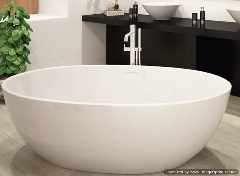 Oval Freestanding Tub With Straight Rim Center Drain Free