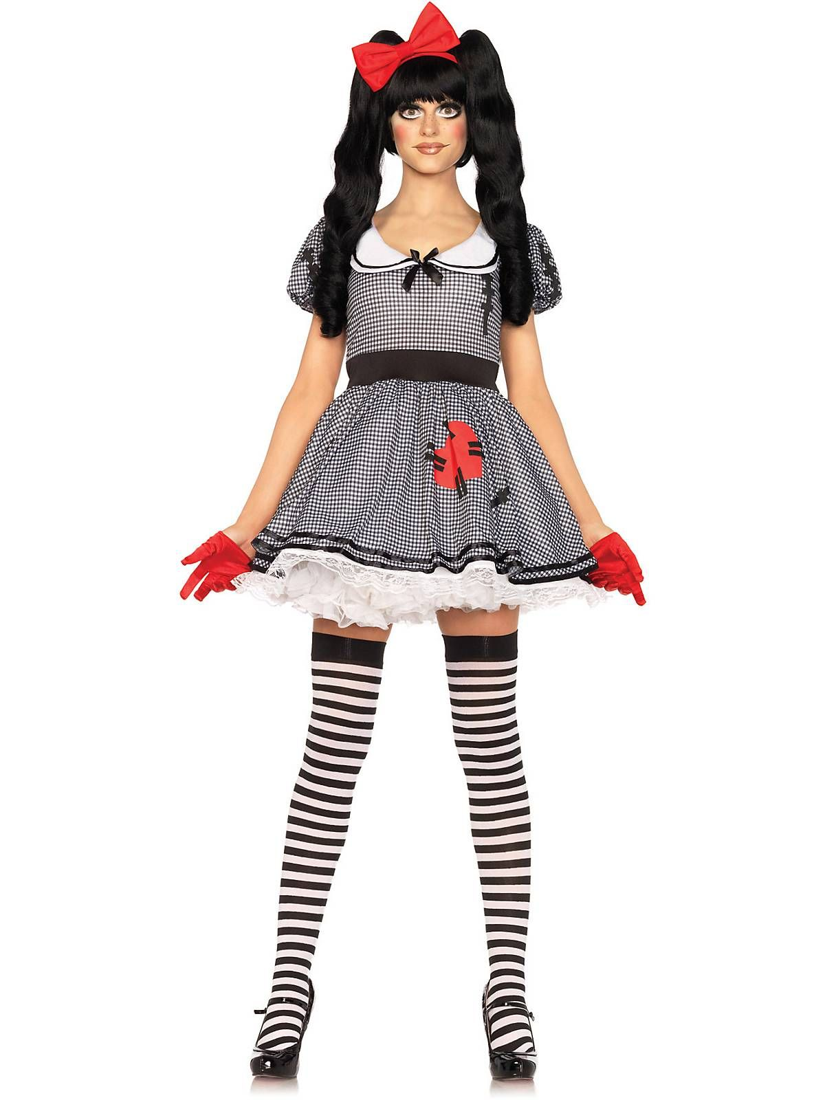 Ladies Zombie Doll Costume Broken Damaged Doll Costume Halloween Fancy Dress