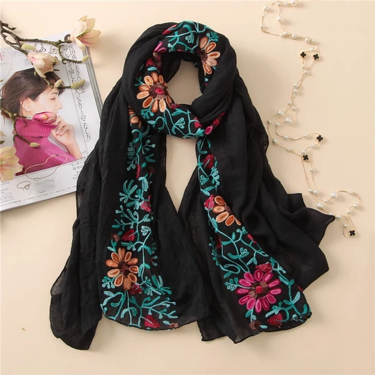Boho Chic Embroidered Floral Scarf Shawl Buy 5 Get 1 Free
