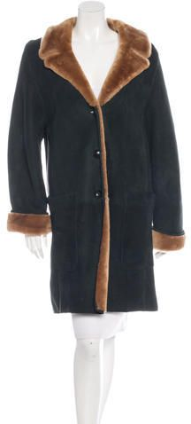 Escada Shearling Trimmed Suede Coat