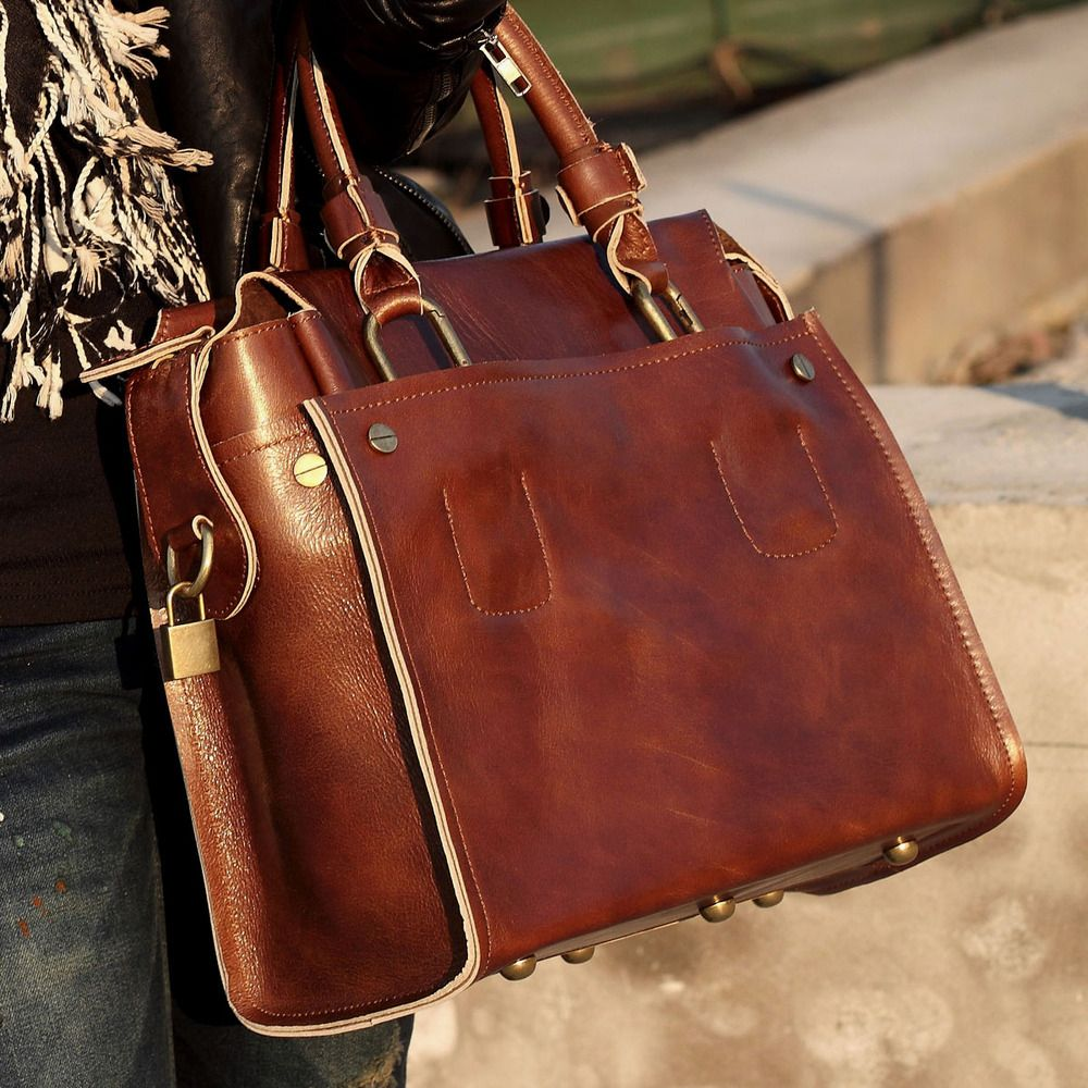 Handmade Genuine Leather Women's Briefcase Handbag Messenger Bag ...