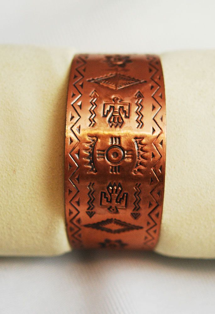 Solid Copper Bell Trading Cuff Bracelet Native American