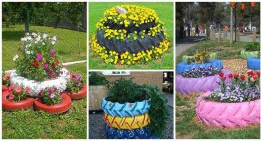 reaproveitamento pneu trator Pneus reciclados Jardim de pneus, Pneus reciclados, Pneus -> Jardins Decorados Com Pneus