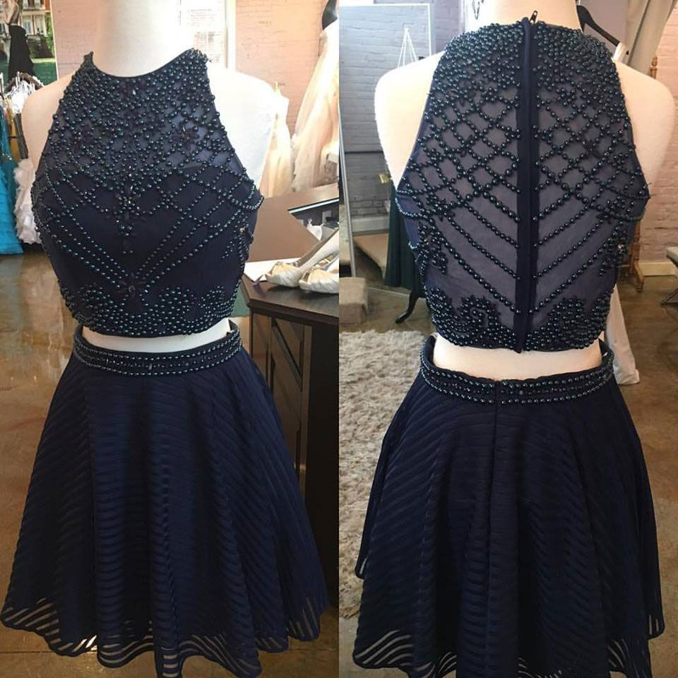 Two piece short navy blue beads homecoming dress homecoming
