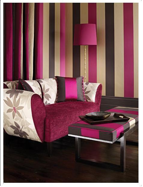 Streifen an der Wand wohnzimmer lila | bauen/renovieren ...