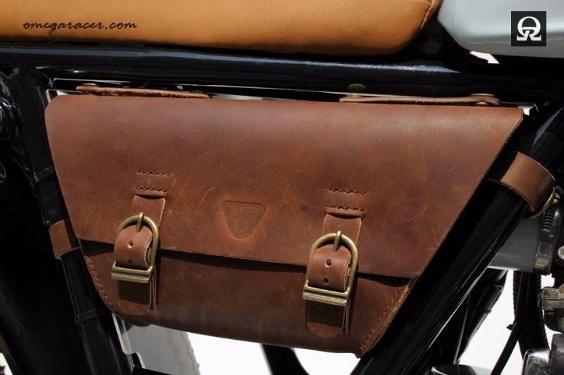 27c4dbe9b319 BlueGreen - The Sports Custom. Custom made leather side bag for all Yamaha  SR400  ...