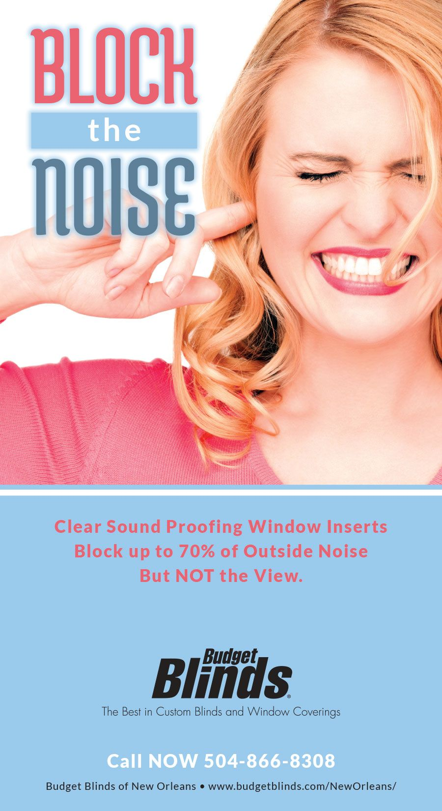 Clear acrylic interior window inserts block up to 70 of