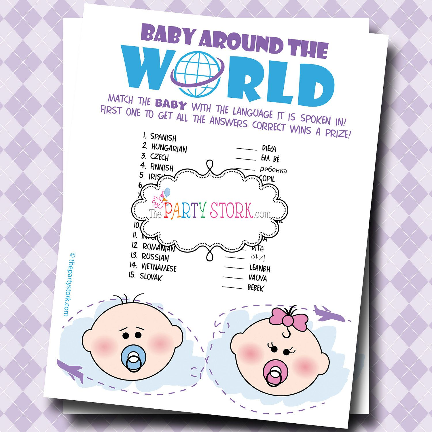 Baby Shower Games Printable Baby Around The World With