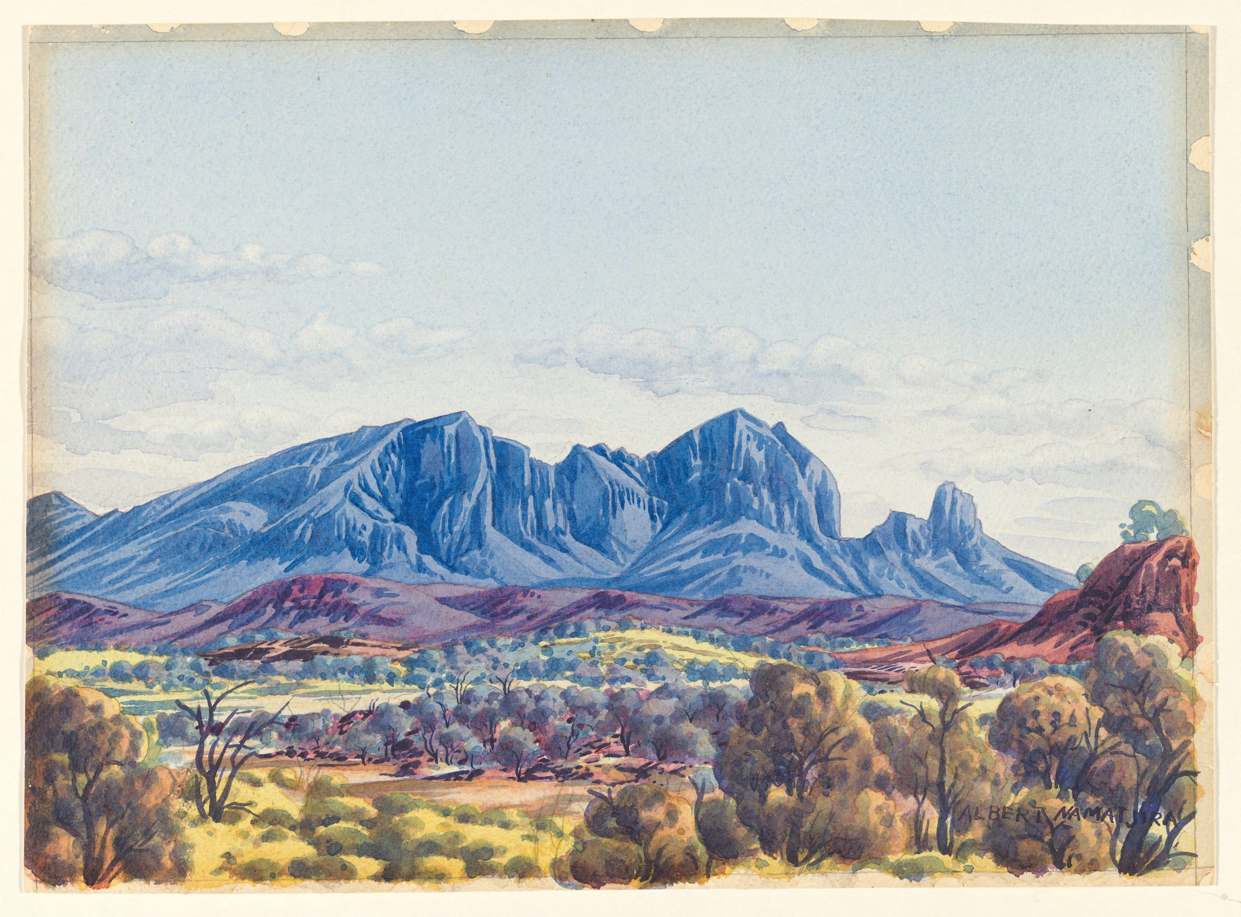 Albert Namatjira Vivid Watercolours Of The Australian Outback In Pictures Landscape Artist Landscape Paintings Landscape