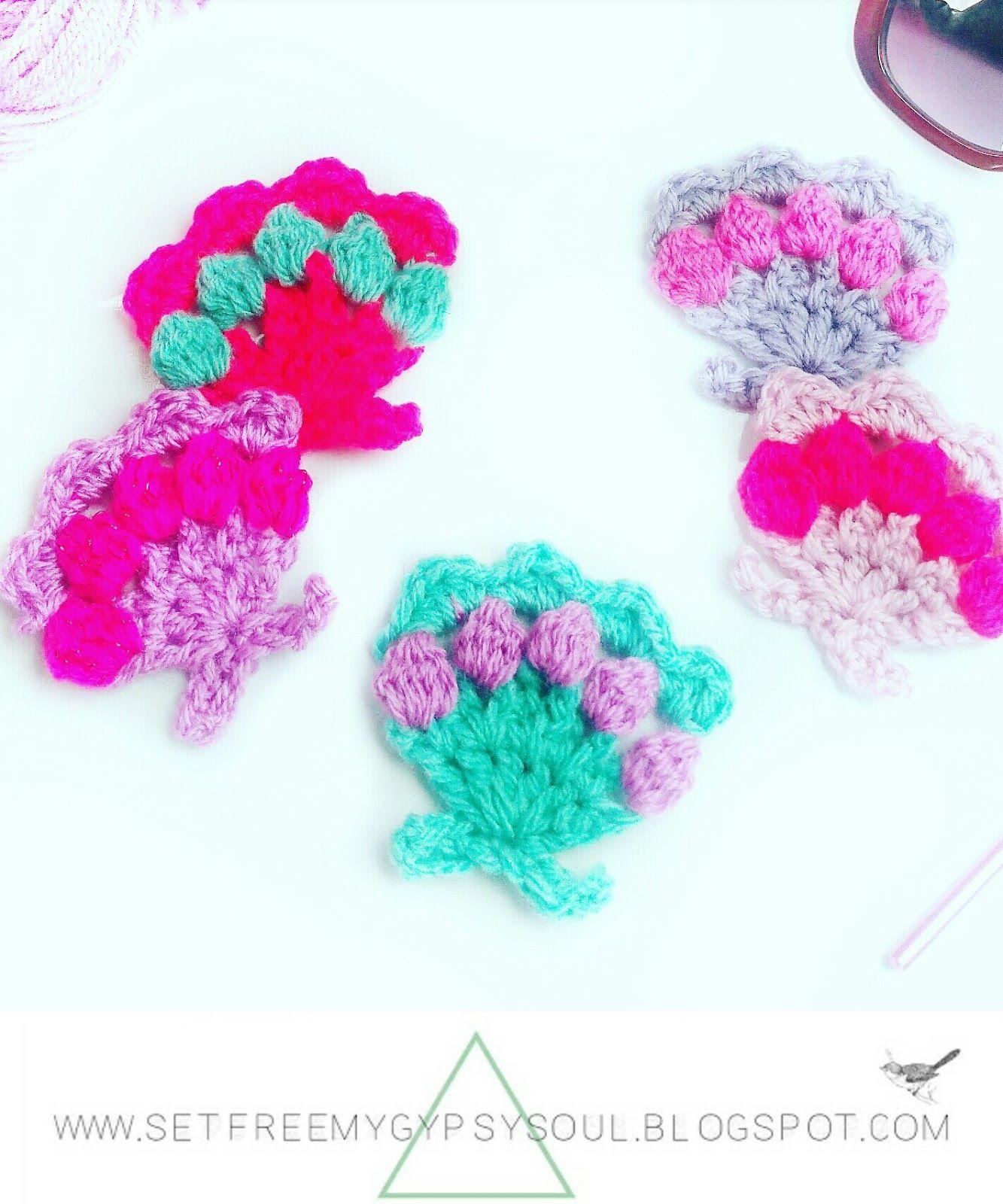 Mermaid Pastel Sea Shells With Bobble Stitch Diy Ideas Pinterest
