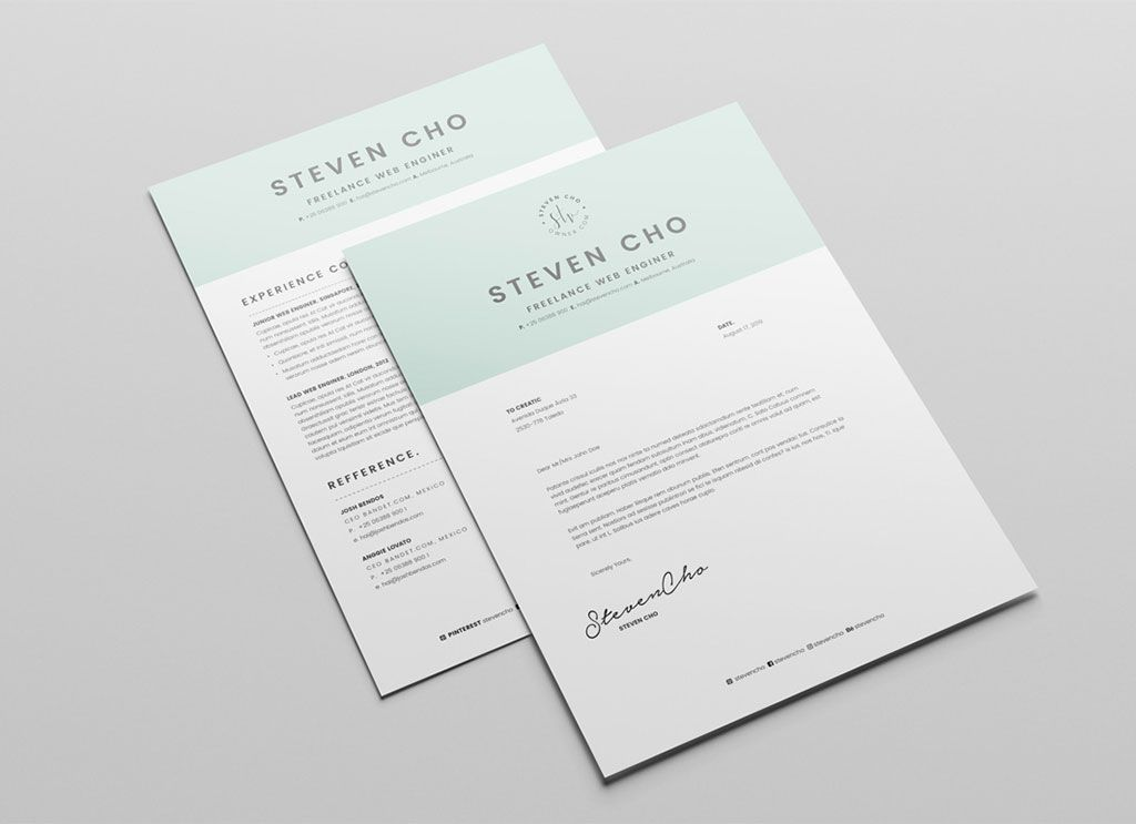 Free resume template cover letter in indd word for