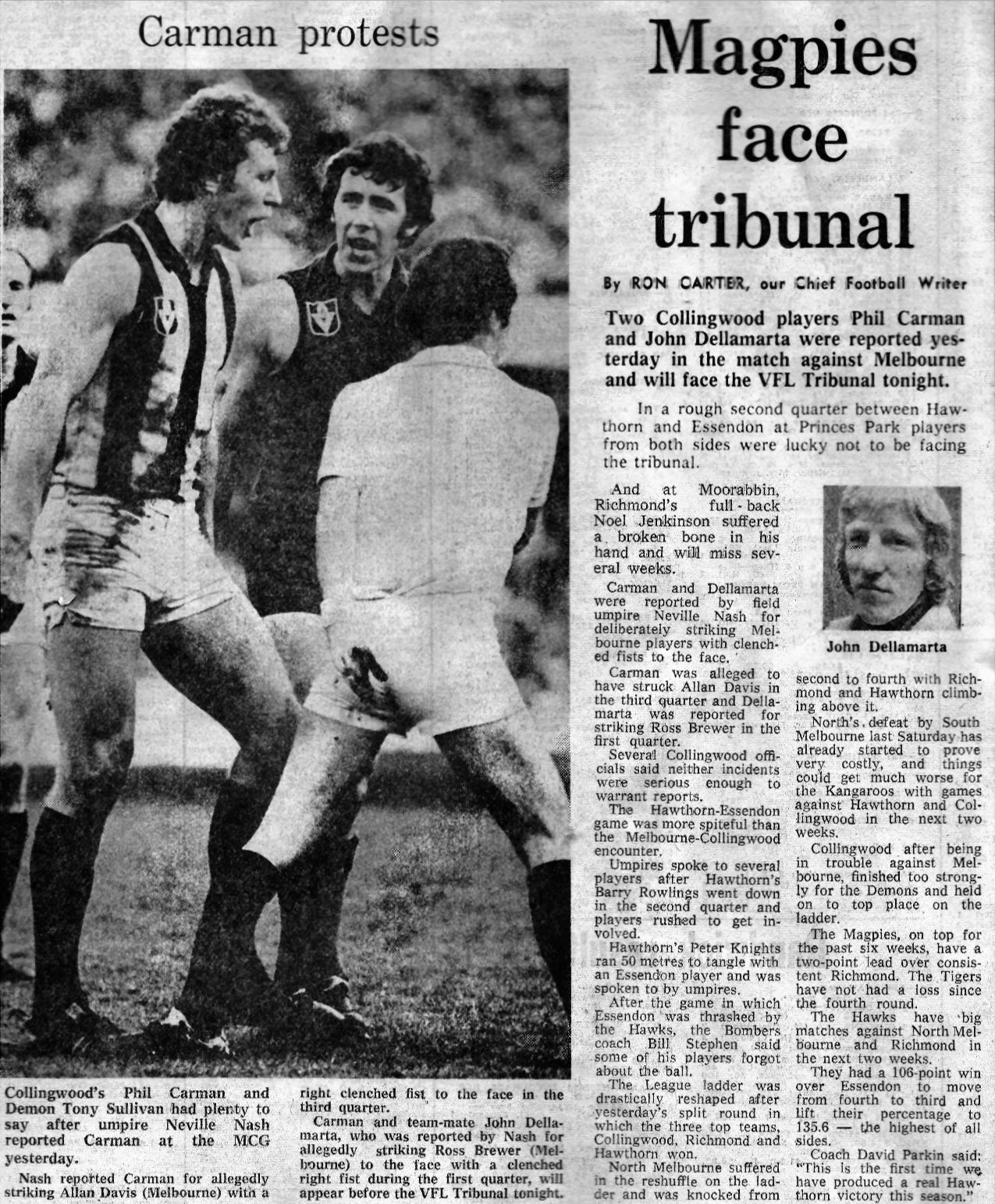 Celebrity Humanist Wedding: Footy Wrap - Scrapbook Article 1977 Collingwood.