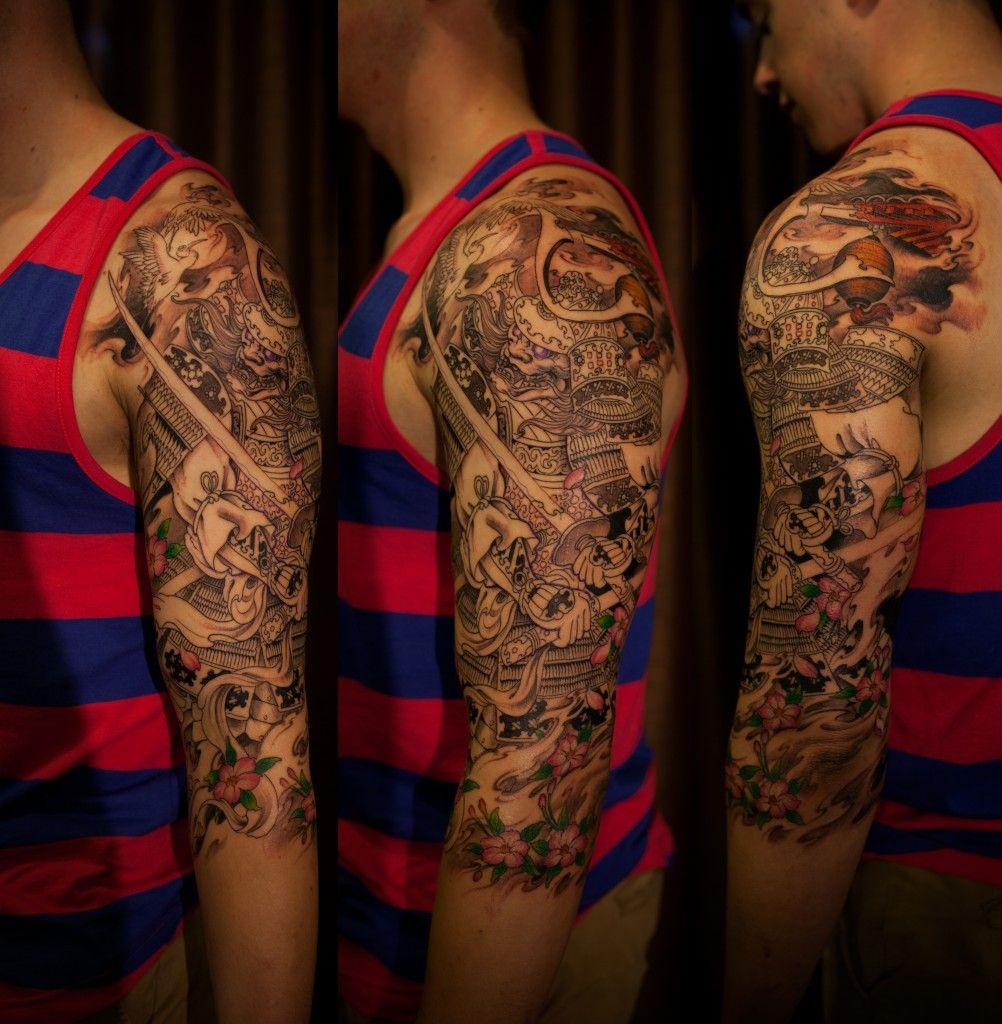 3 4 Sleeve Samurai Tattoo 3 4 Sleeve Tattoo Tattoo Sleeve Designs Sleeve Tattoos