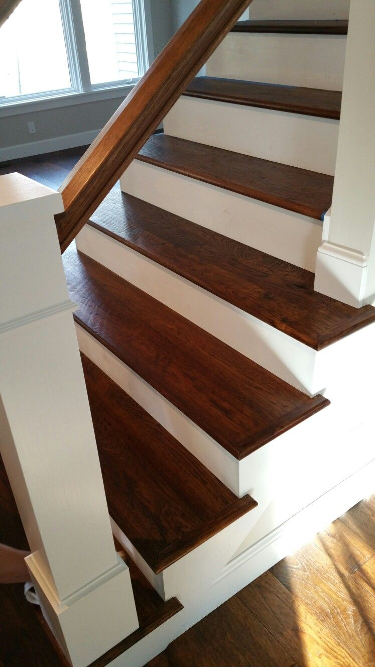 Solid Hickory Stair Treads Traditional Home Flooring | Prefinished Hickory Stair Treads | Hickory Natural | Hardwood Lumber | Hand Scraped | Stair Nosing | Retread