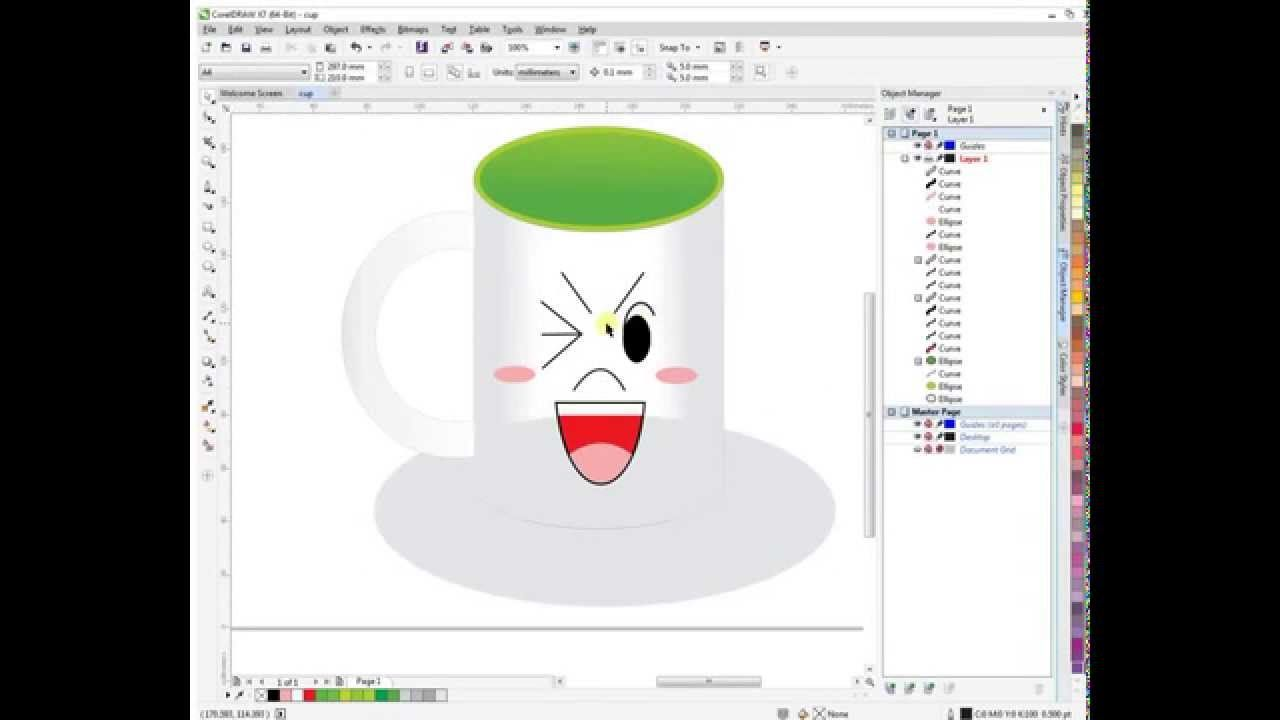 Coreldraw tutorial cup smile design art vector pinterest tutorial coreldraw for beginners simple cup smile design baditri Image collections