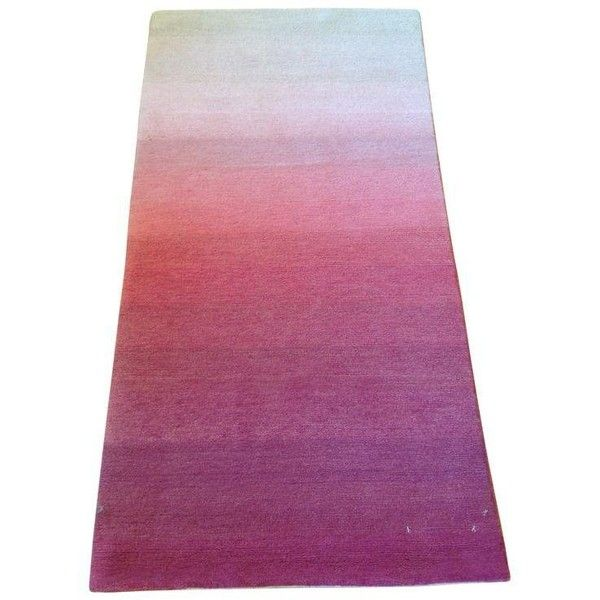 Ombre White Pink Rug - 2' X 4' ($240) ❤ liked on Polyvore featuring home, rugs, ombre rugs, wool rugs, hand-knotted rug, hand knotted rugs and wool area rugs