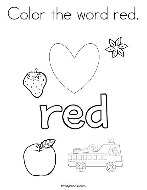 Color The Word Red Coloring Page Twisty Noodle Color Red