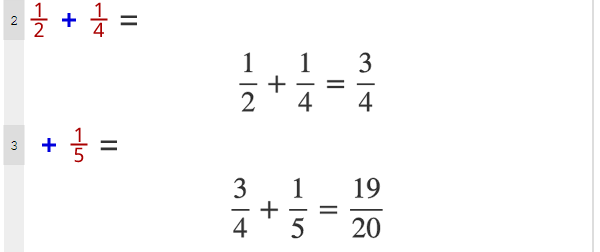 Basic programming with fraction numbers in Mathgram