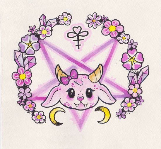 Hail Satan Be Kawaii Art Print Gothic Pinterest Kawaii Art