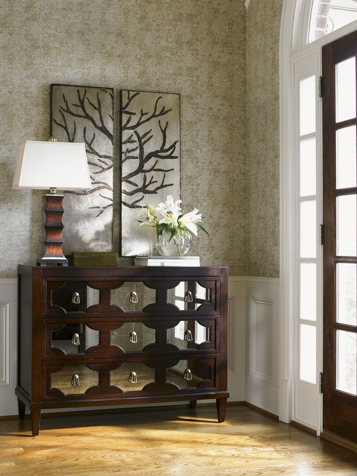 Kensington place winslow mirrored hall chest lexington furniture foyer hallchest