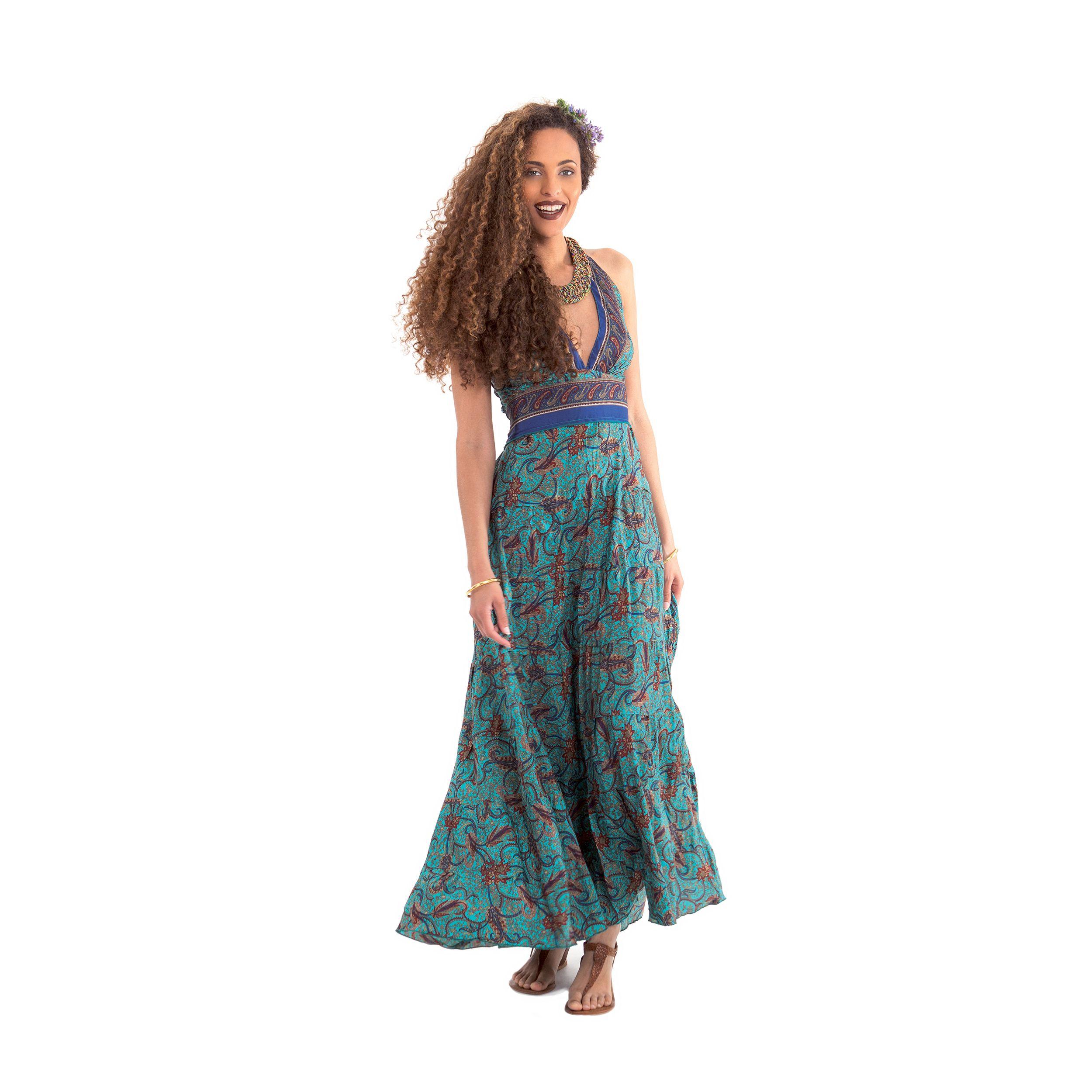la robe longue d 39 t tour de cou originale et color e lasmy turquoise trouvera facilement sa. Black Bedroom Furniture Sets. Home Design Ideas