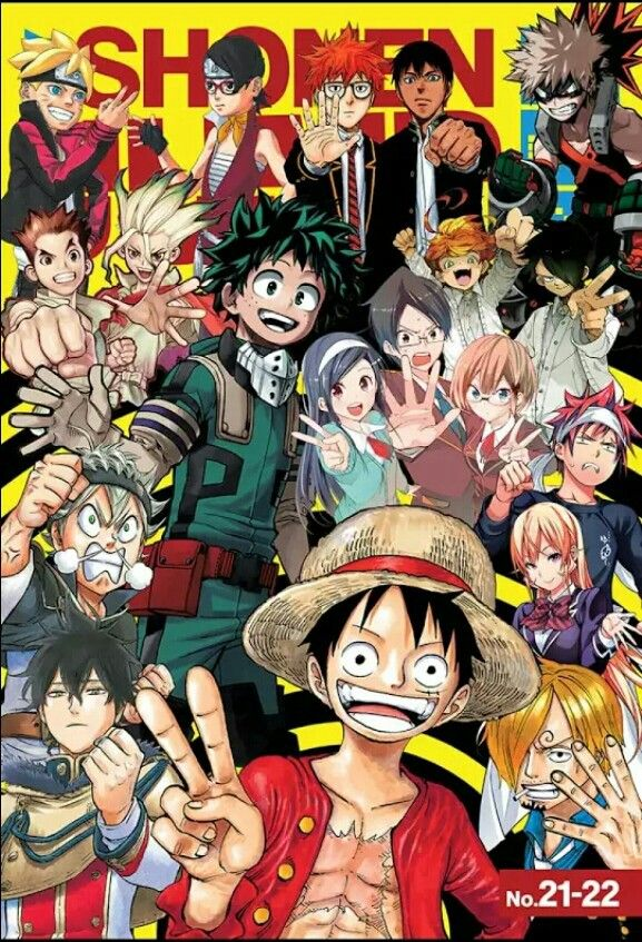 Shounen Jump Magazine Cover Anime Characters Crossover Text