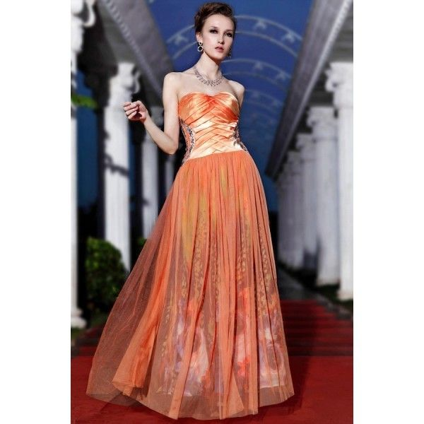 Strapless Prom/Evening Dress: Floral Print Floor Length