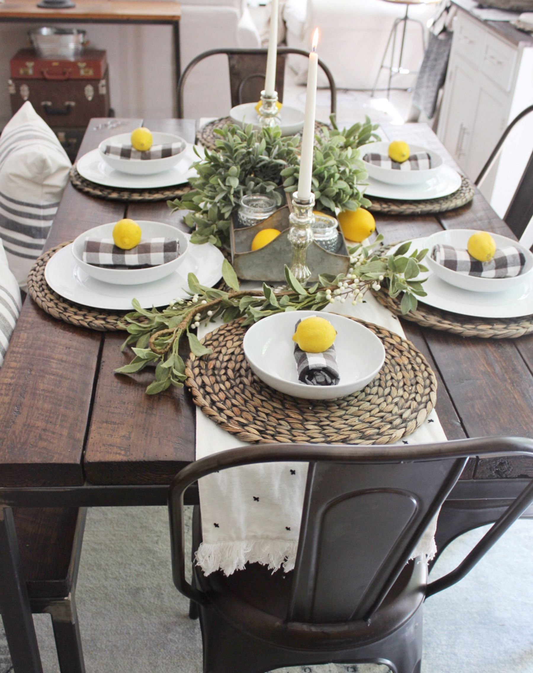 Pin By Taylor Bayles On Table Dining Room Table Centerpieces Dining Room Table Decor Farmhouse Dining Rooms Decor