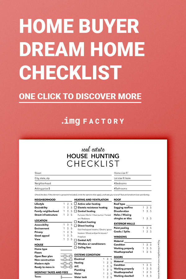 Printable House Hunting Checklist Real Estate Marketing Etsy In 2020 House Hunting Checklist Home Buying Checklist First Home Buyer