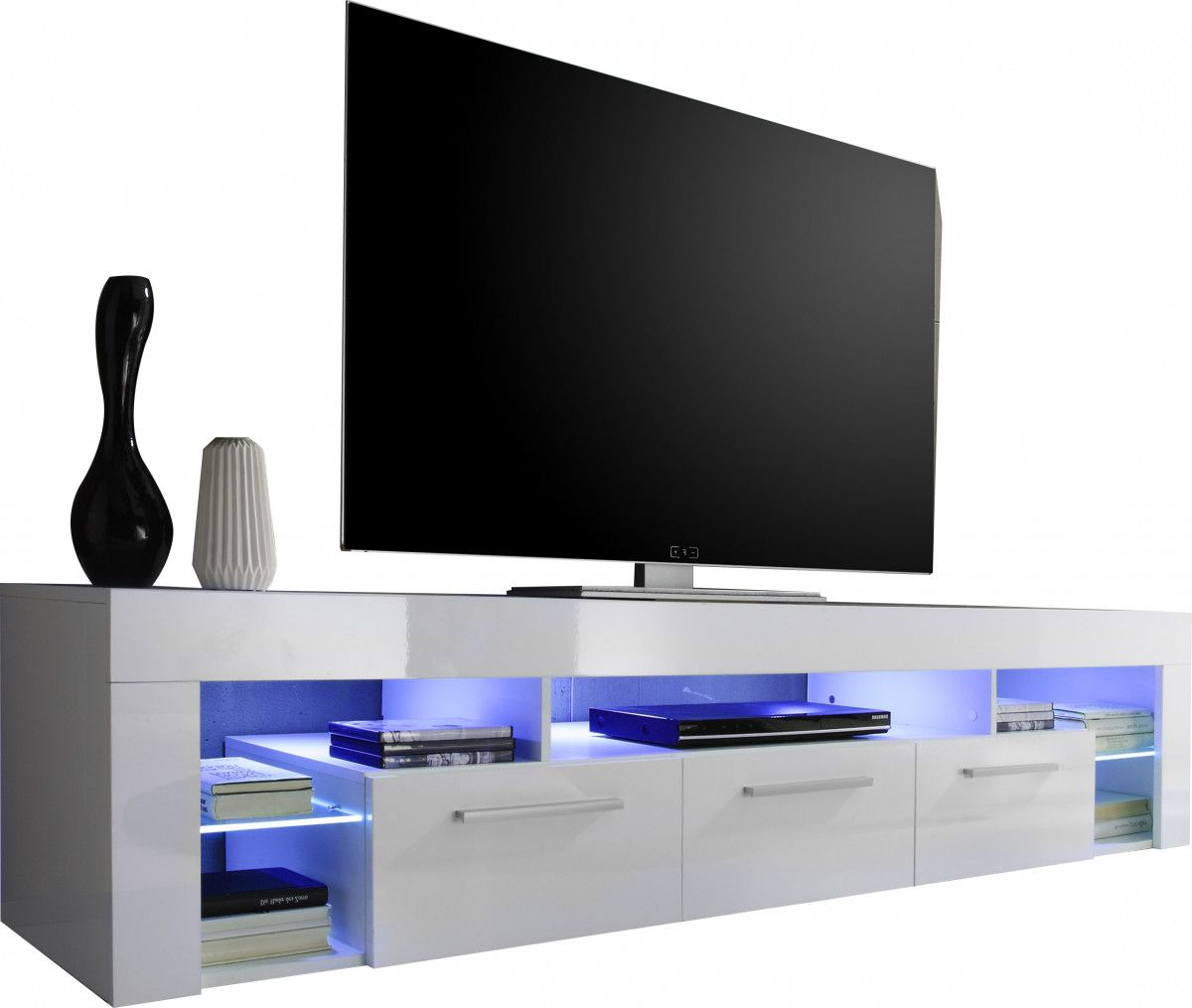 Grand meuble TV coloris blanc brillant avec éclairage LED   deco ...