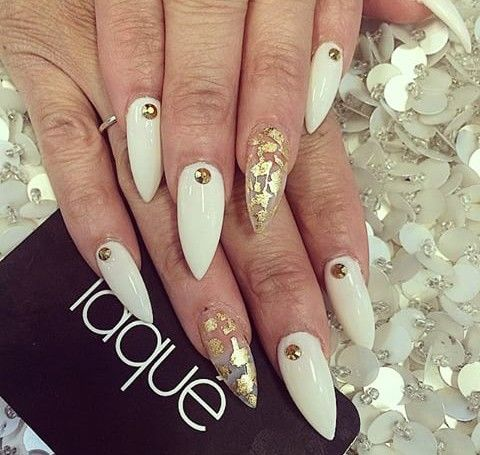 White With A Clear Nail With Gold Foil And Gold Rhinestones Gold