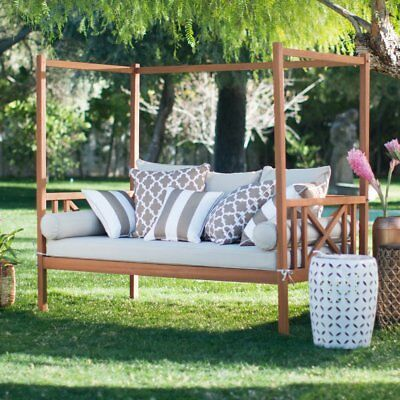 Khaki Cushion Patio Daybed Ottoman Set Outdoor Home ... on Belham Living Brighton Outdoor Daybed id=70293
