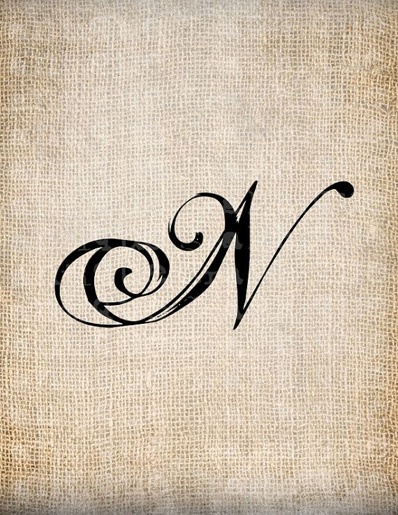 Antique Letter N Script Monogram Digital Download For Dictionary