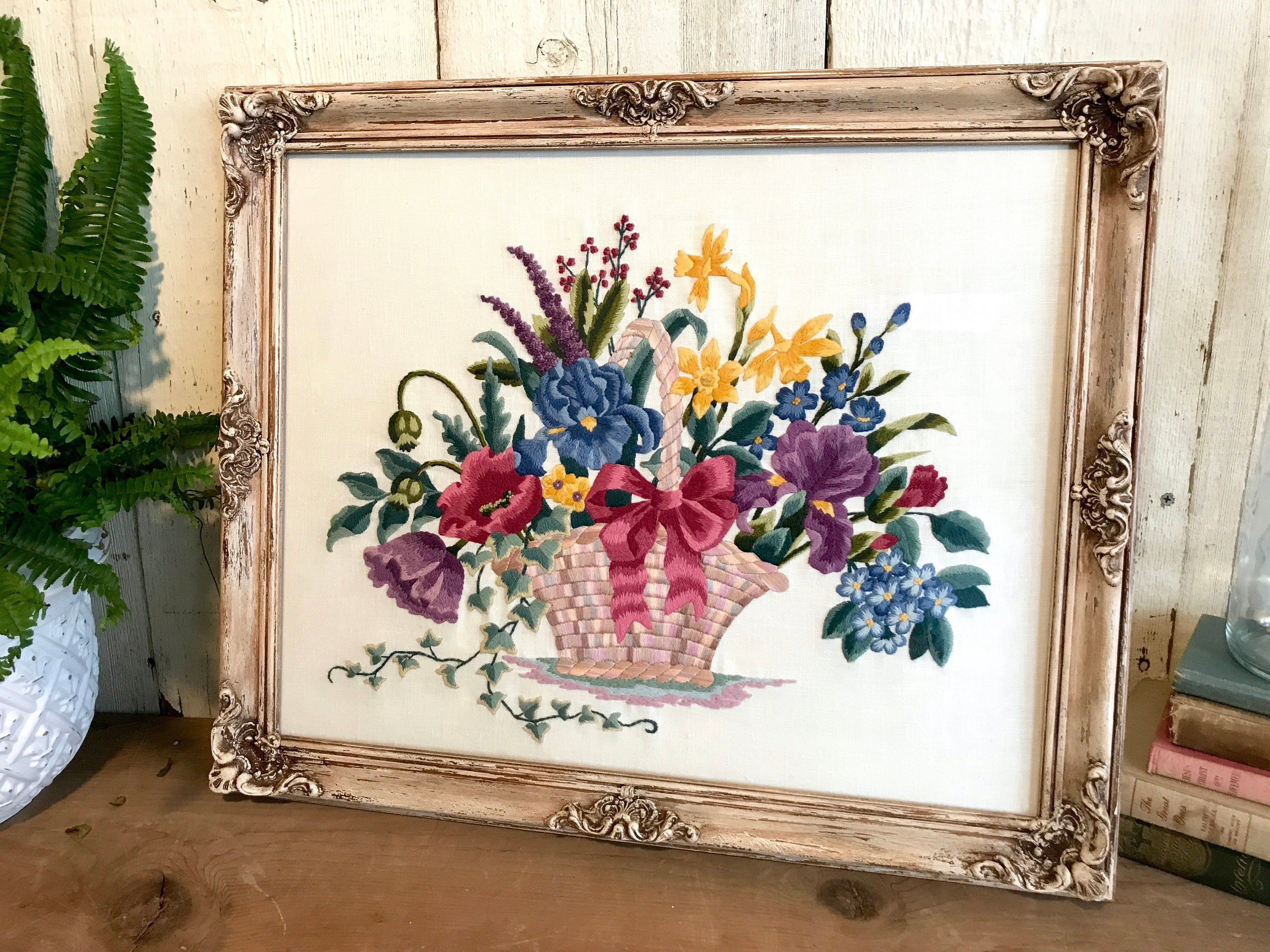 Framed Floral Embroidery Artwork Embroidered Basket 0f Flowers Vintage Ornate Wall Frame Framed Flow Shabby Chic Wall Decor Frames On Wall Floral Embroidery