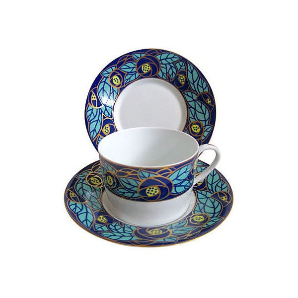 Pre-Owned Limoges Art Nouveau Set 3 pcs. ($79) ❤ liked on Polyvore featuring home, kitchen & dining, drinkware, serveware, tea cups, tea cup saucer, tea saucer and tea cup and saucer