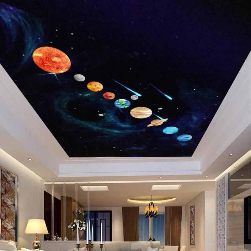 PVC Waterproof Luminous Sun Planet Earth Wall Stickers Decal Kids Room Decor