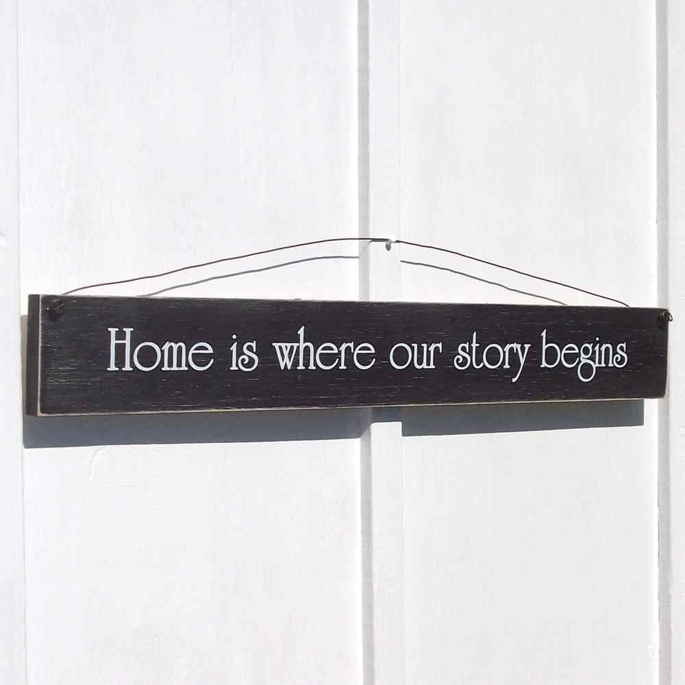 Home Is Where Our Story Begins Sign | Wood signs, Woods and Rustic ...