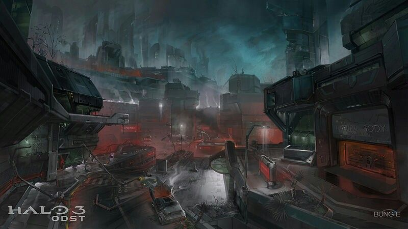 Late Night Streets Halo 3 Odst Concept Art Halo 3
