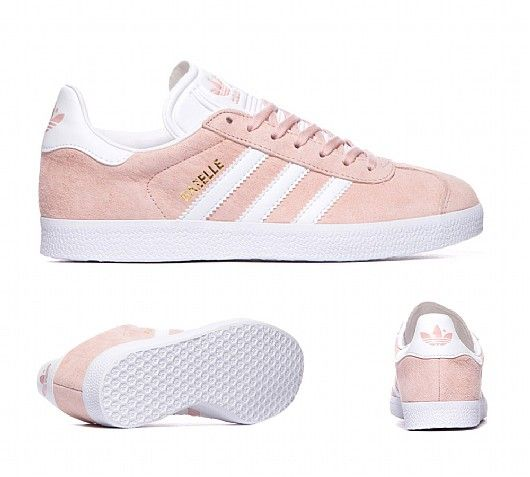 Adidas Originals Womens Gazelle Trainers in Vapour Pink \u0026 White.  Resurrected from the original 1991 silhouette the sporting prowess of the  Gazelle returns ...