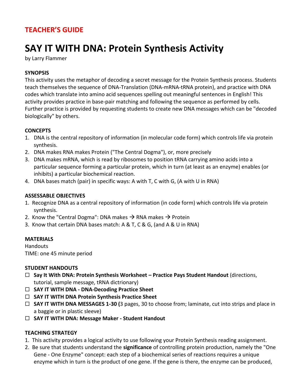 Prime Dna And Protein Synthesis Worksheet Answers