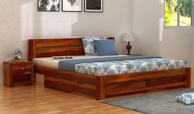 Buy Denzel Bed With Storage Queen Size Honey Finish Online In India Wooden Street Wooden Double Bed Wooden Bed Design Wood Bed Design