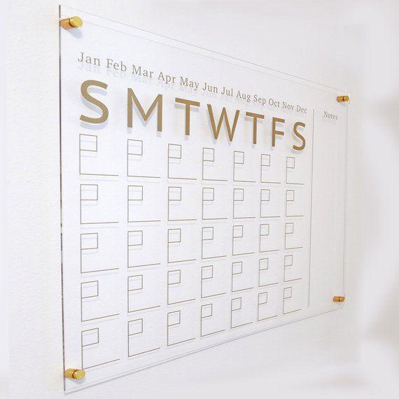 Clear Acrylic Calendar, Dry Erase, Modern Home Office