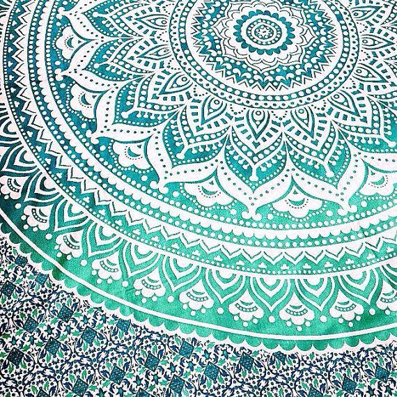 Mandala indien ombre boho boh me blanc vert grand par bohemiyanauk wishlist - Grand mandala ...