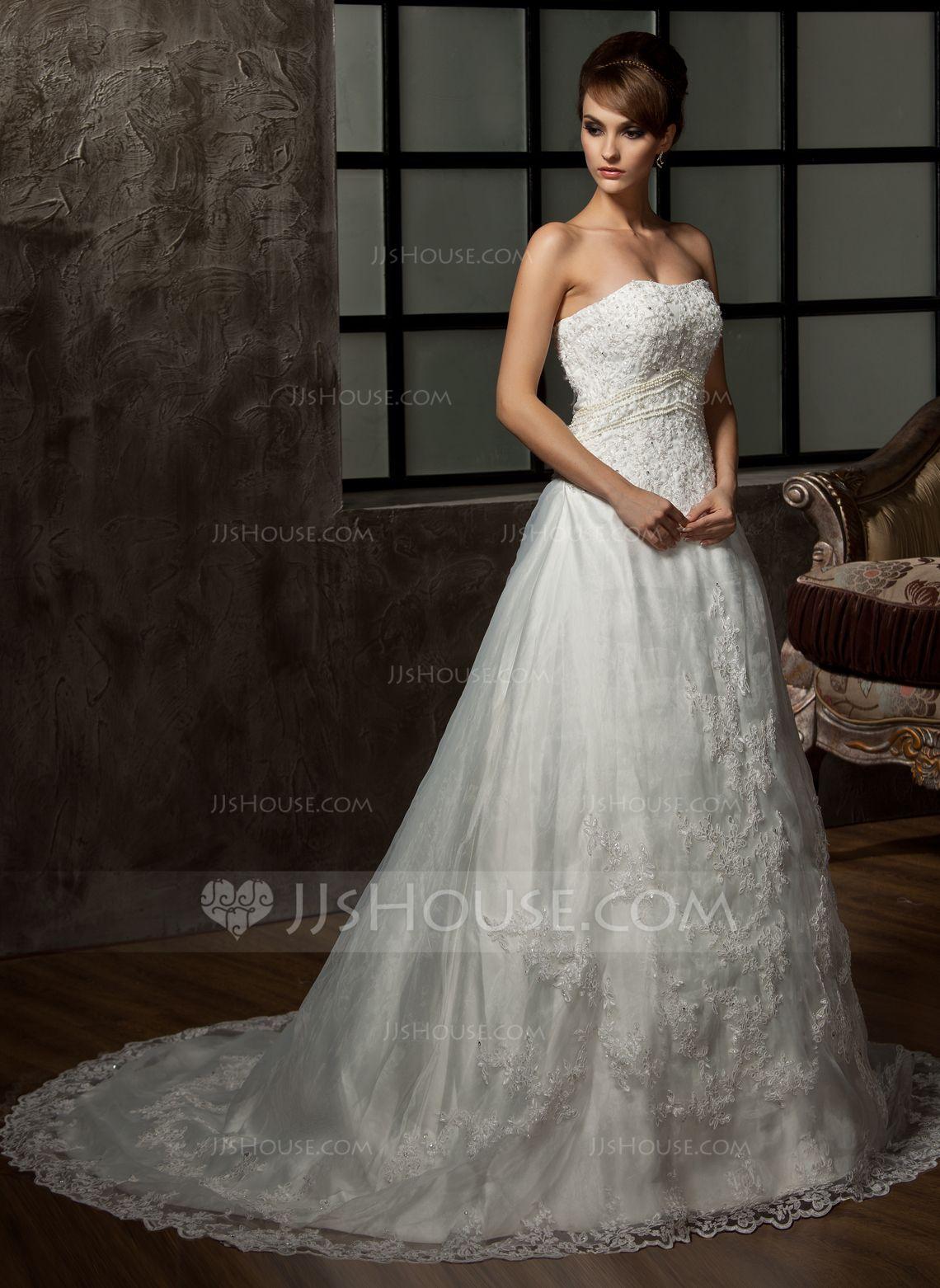 Lace dress wedding  ALinePrincess Sweetheart Chapel Train Tulle Wedding Dress With