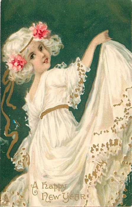 A HAPPY NEW YEAR girl in white dress lifts her skirt high with her right hand, green background