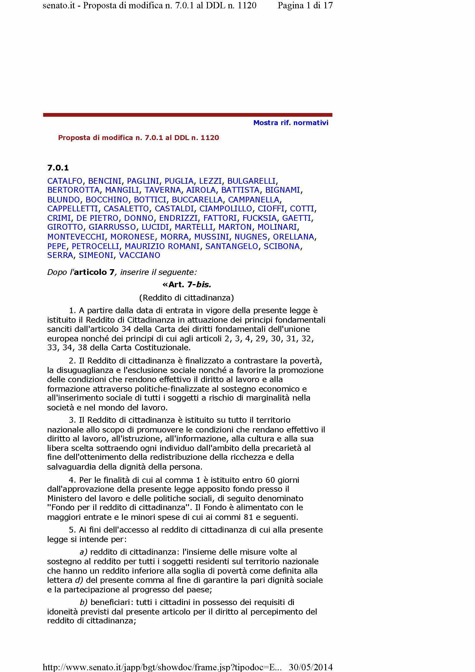 Proposta Reddito di Cittadinanza [M5S]