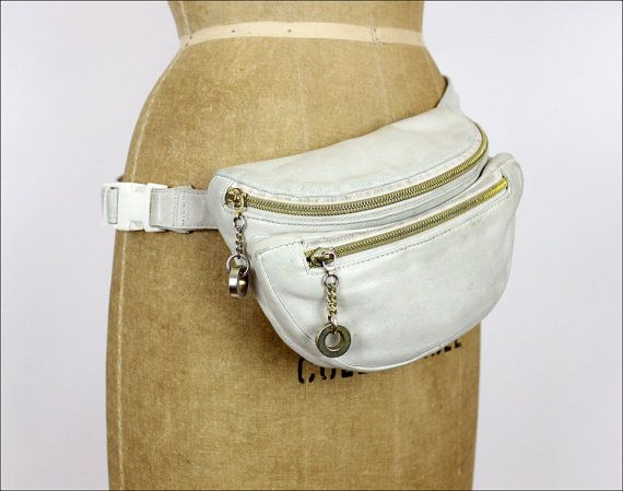 white leather hip pouch / Perlina zipper fanny pack by OmniaVTG