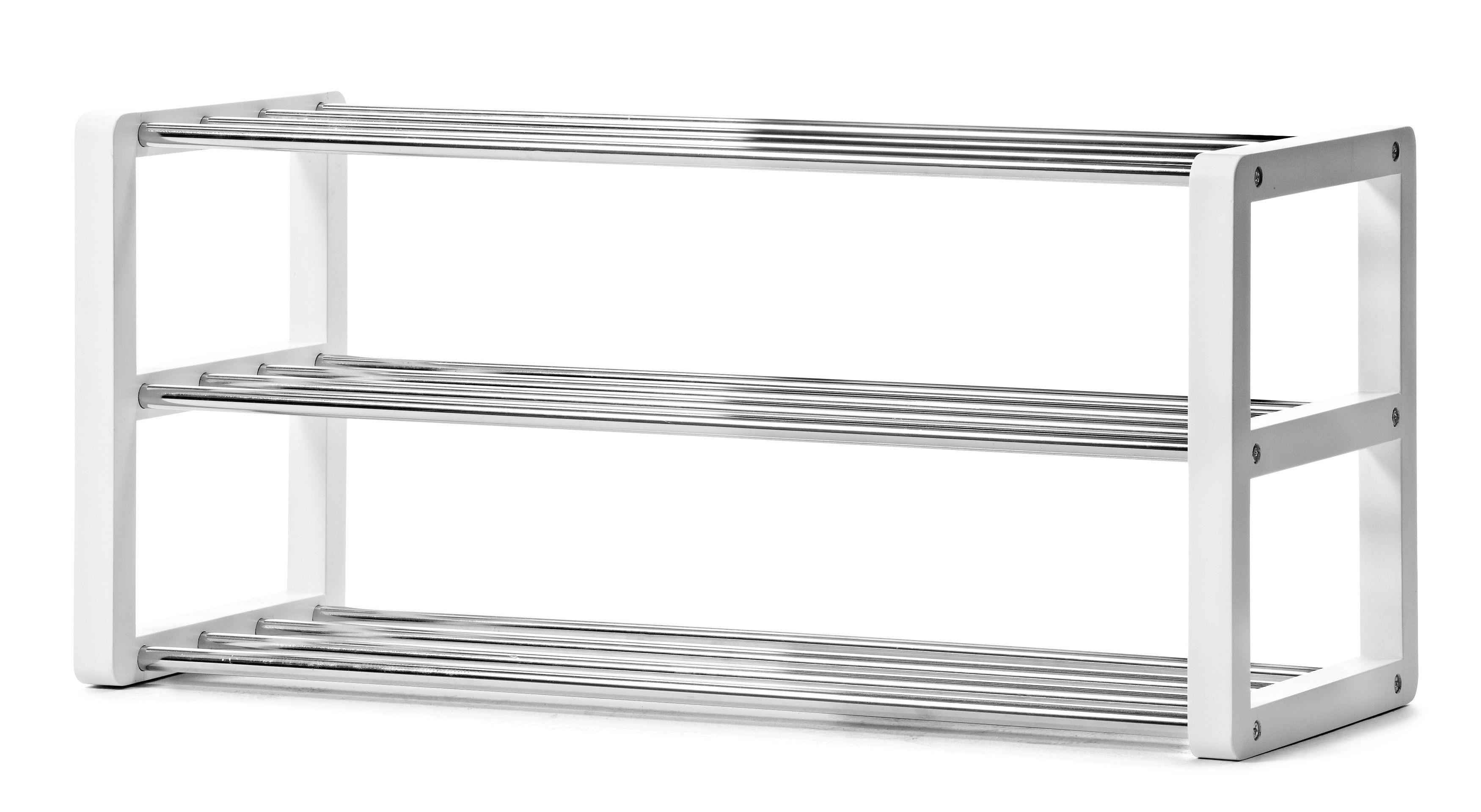 prisvärd skohylla med hyllplan i metall. köp gärna till branäs